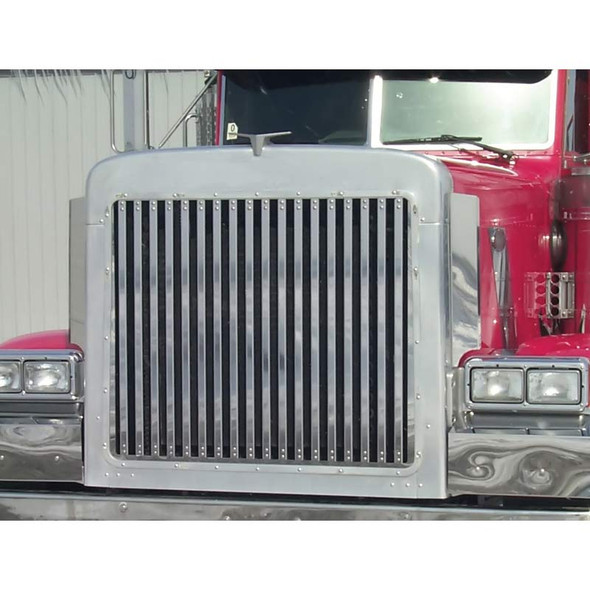 Peterbilt 379 Extended Hood Grill With 18 Vertical Bars By Roadworks