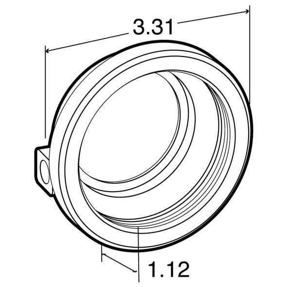 "Model 10 2.5"" Closed Back Black Rubber Grommet  Dimensions"