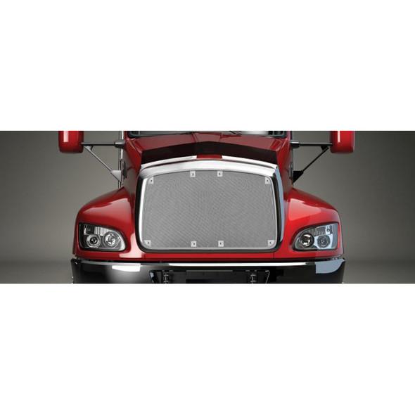 Peterbilt 357 375 377 378 379 Short Nose Belmor Bug Screen Aluminum w/ Silver Mesh Red Truck