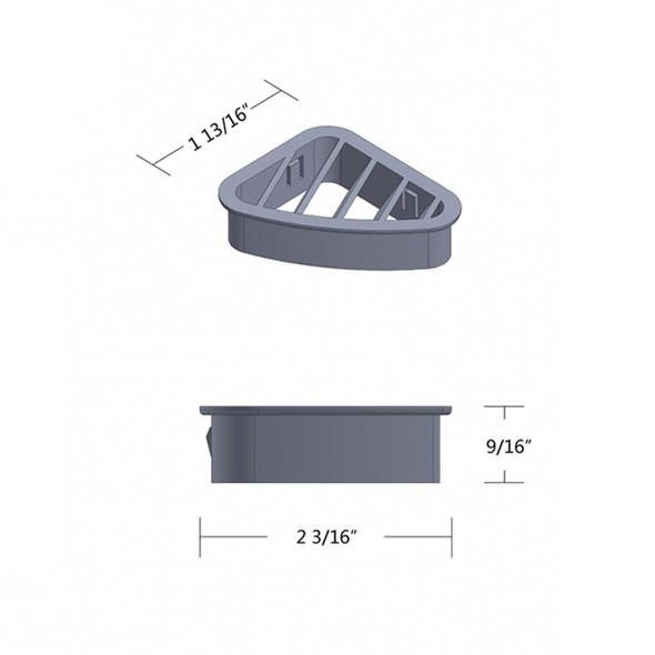 Peterbilt 2001-2005 Chrome Plastic Defroster A/C Driver Vent Dimensions