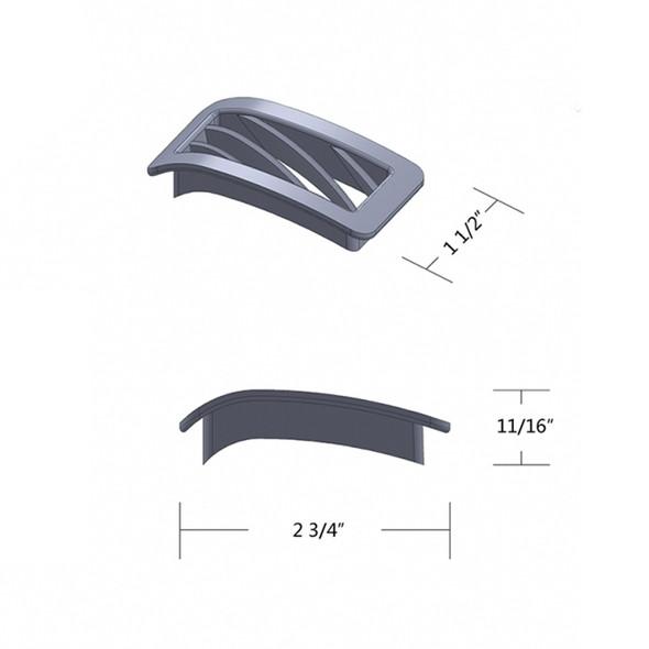 Peterbilt 2001-2005 Chrome Plastic Defroster A/C Passenger Vent Dimensions