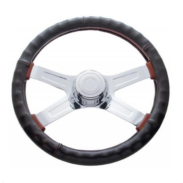 """Universal 18"""" Dark Brown Leather Steering Wheel Cover"""
