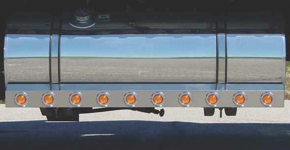 """Kenworth 60"""" Fuel Tank Fairings With 2"""" Round LEDs & Chrome Bezels"""