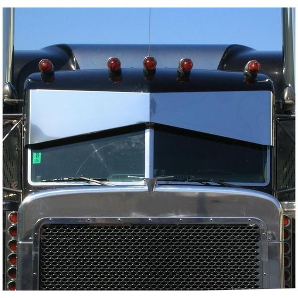 """Peterbilt 379 388 389 Slammed Blind Mount 13"""" x 8"""" Bow Tie Visor Black Truck"""