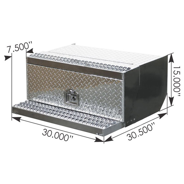 Peterbilt 379 388 389 Aluminum Diamond Plate Tool Box With Dimensions