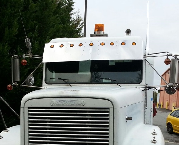 Freightliner FLD and Classic Condo Drop Visor Stainless Front View