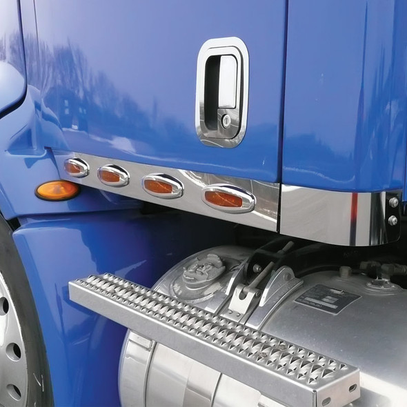 Peterbilt 387 Day Cab Stainless Steel Cab Panels With Crew LEDs Angled