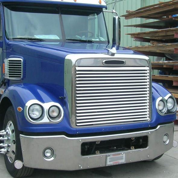 Freightliner Coronado Stainless Steel Hood Grill Insert On Blue Truck