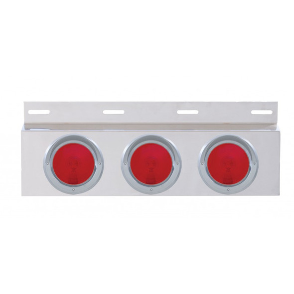 """Stainless Top Mud Flap Light Bracket With Three 4"""" Incandescent Lights & Visor"""