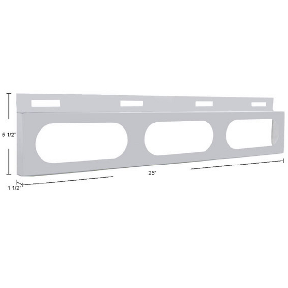 Stainless Top Mud Flap Light Bracket With 3 Oval Light Cutouts Dimensions
