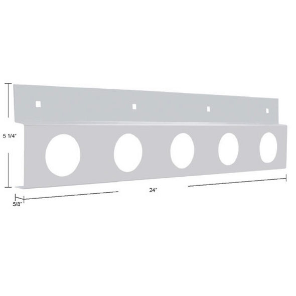 """Stainless Top Mud Flap Light Bracket With Five 2"""" Light Cutouts Dimensions"""