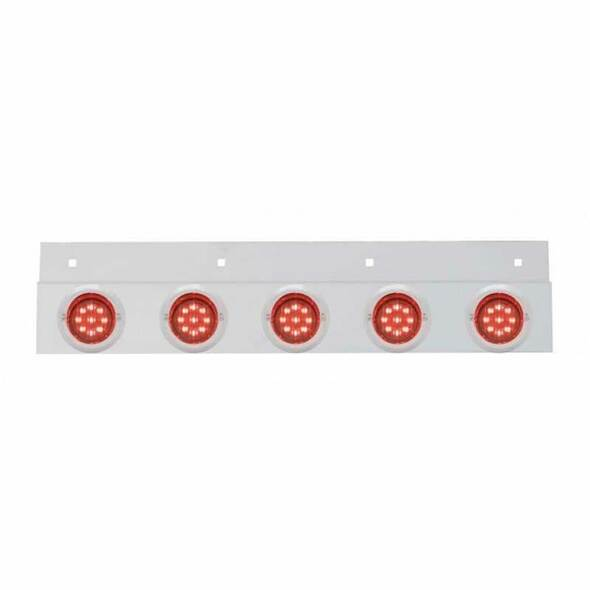 Stainless Top Mud Flap Light Brackets With LED Lights Marker Light - Red LED / Red Lens with Chrome Visor Bezel