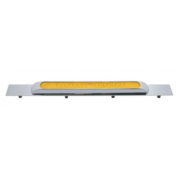 Chrome Top Mud Flap Plate With 11 LED Light Bar - Amber/Amber w/ Bezel