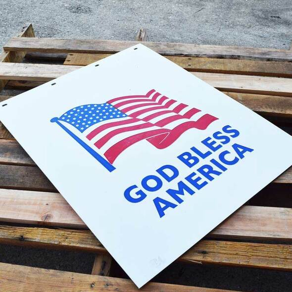 God Bless America With American Flag White Mud Flap On Pallet