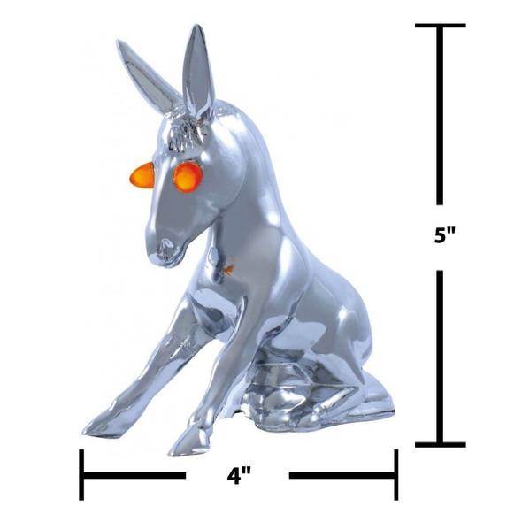 Chrome Donkey With Illuminating Eyes Hood Ornament Measurements