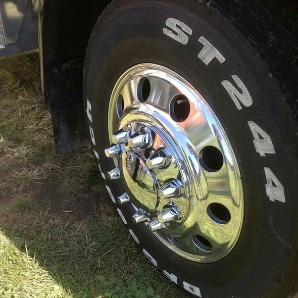 Chrome Front Axle Wheel Cover With Removable Hubcap & Lug Nut Covers On Truck