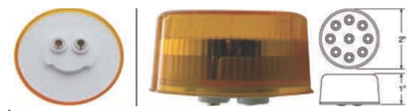 """2"""" Round Reflector Clearance Marker Light 9 LED"""