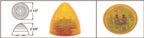 """2.5"""" Clearance Marker Light Amber Beehive"""