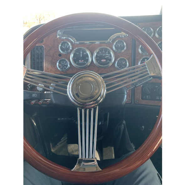 """Kenworth Peterbilt Steering Wheel Chrome 18"""" Banjo Style With Hub Included On Truck"""