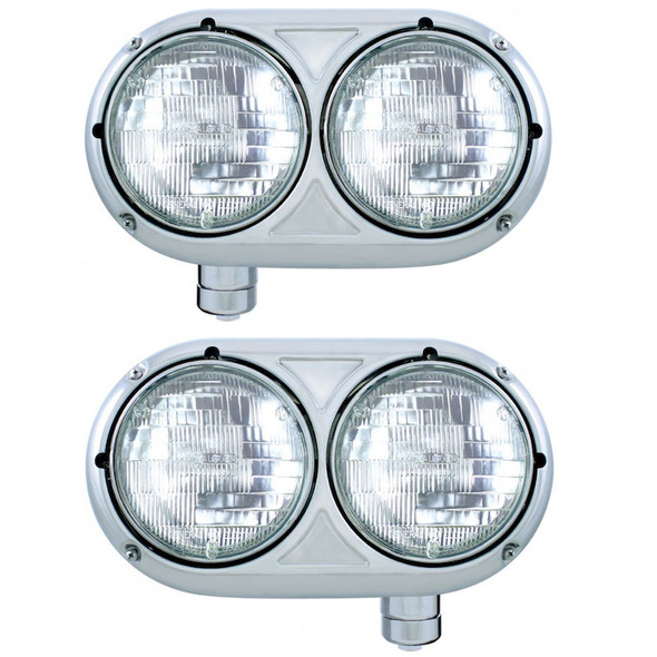 Peterbilt 359 Style Stainless Dual Round Headlight Both Sides Off On