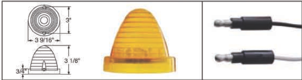 13 LED Cab Light -Beehive/Truck-Lite Style Measurements