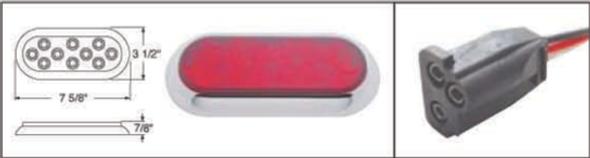 10 LED Oval STT And PTC Light With Chrome Bezel Plug