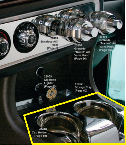 Kenworth 2006+ Deluxe Chrome Cup Holder