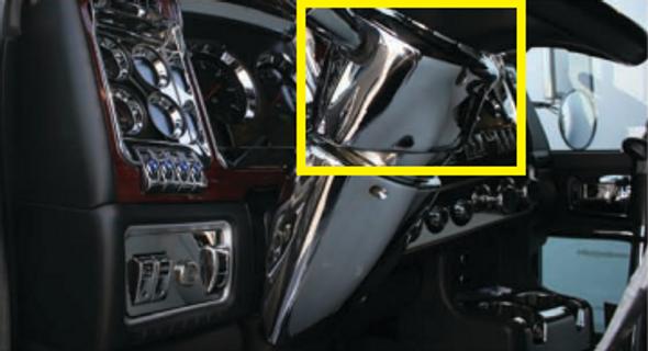 Kenworth Peterbilt  2006 and Newer Chrome Upper Steering Column Cover