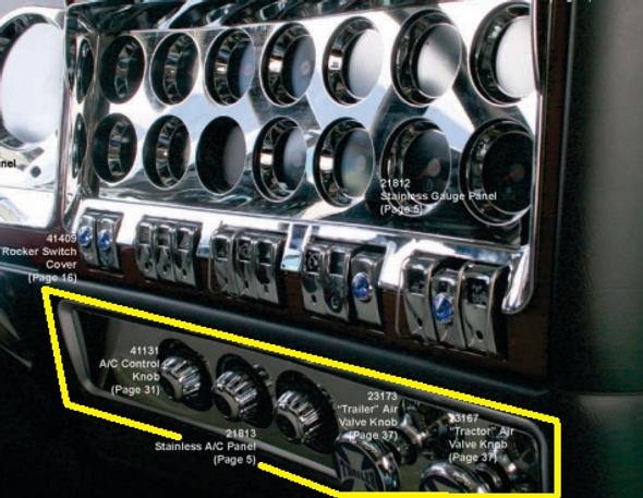 Kenworth 2006+ Stainless Steel AC Gauge Dash Panel Trim