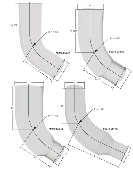 """Peterbilt 379 58 Degree 5"""" O.D. Chrome Factory Angled Elbow"""