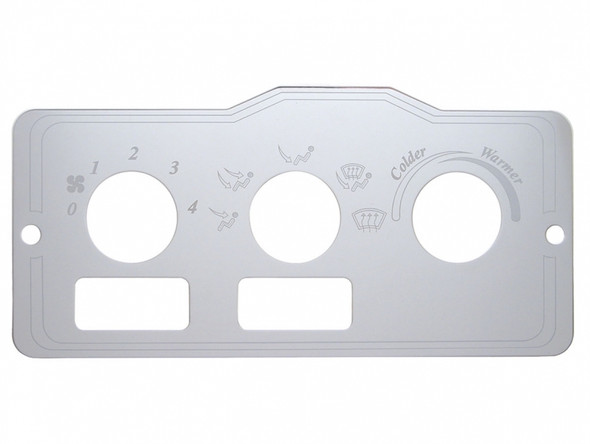 Peterbilt Stainless Steel AC Control Plate 2 Square Openings