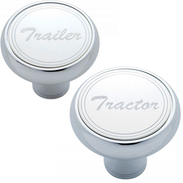 """Deluxe Air Valve Knobs-Stainless Plaque With Cursive Script  """"Tractor"""" & """"Trailer"""""""