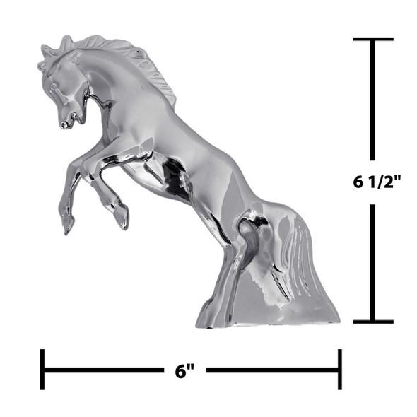 Chrome Fighting Stallion Hood Ornament Measurements