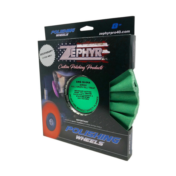"Hall Green Medium Light Cutting Airway Buffing Wheel 8"" Box"
