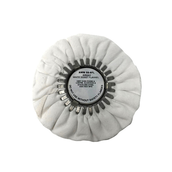 """White Domet Flannel Final Finish Buff Airway Buffing Wheel 8"""""""