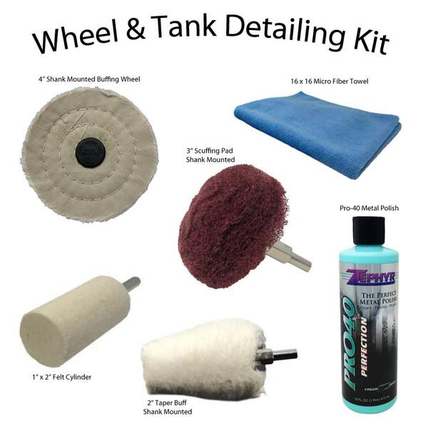 Zephyr Wheel & Tank Detailing 6 Piece Kit Contents