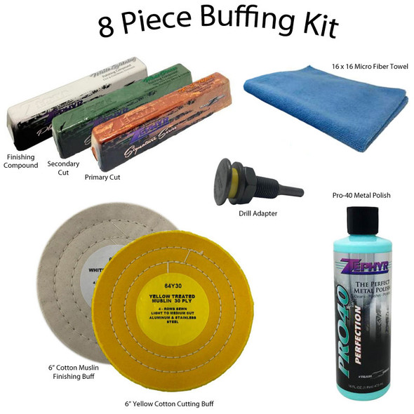 Zephyr 8 Piece Buffing Kit Contents