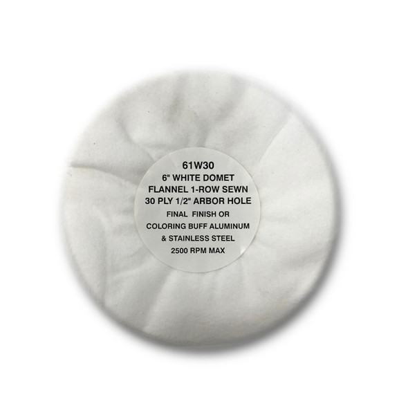 Zephyr White Domet Flannel 30ply Finish Lustre Buffing Wheel Circle