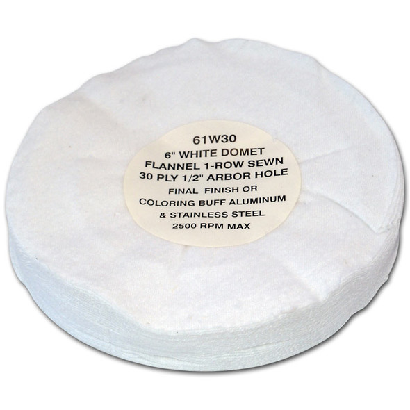 Zephyr White Domet Flannel 30ply Finish Lustre Buffing Wheel