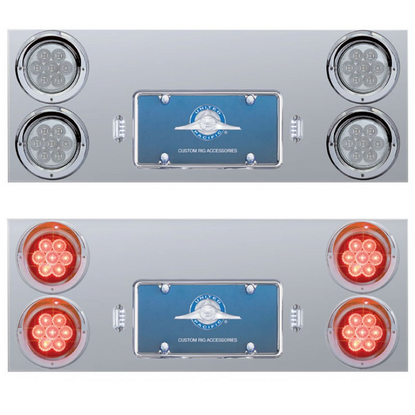"""Stainless Steel Rear Center Panel With 4"""" Round LEDs & License LED"""