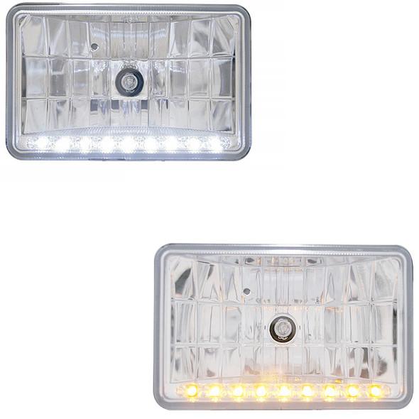 "Rectangular Headlights LED 165mm Crystal 6"" x 4""- Amber LED and White LED"