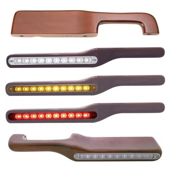 Peterbilt Wood Armrest w/ LED Lights Solid Wood, White LED, Amber LED, Red LED