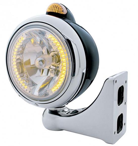 Black Guide Headlight H4 Bulb w/ Amber LED - Driver & Passenger
