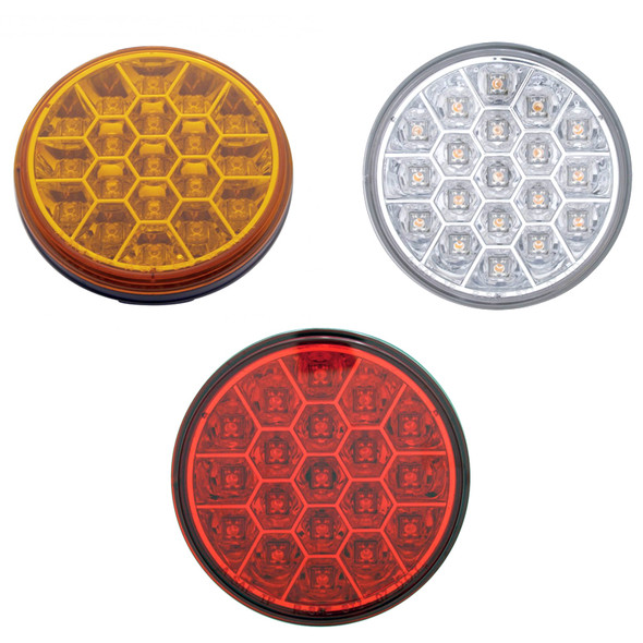 """19 LED 4"""" Round Stop Tail Turn and PTC Lights with Reflector Honeycomb Style"""