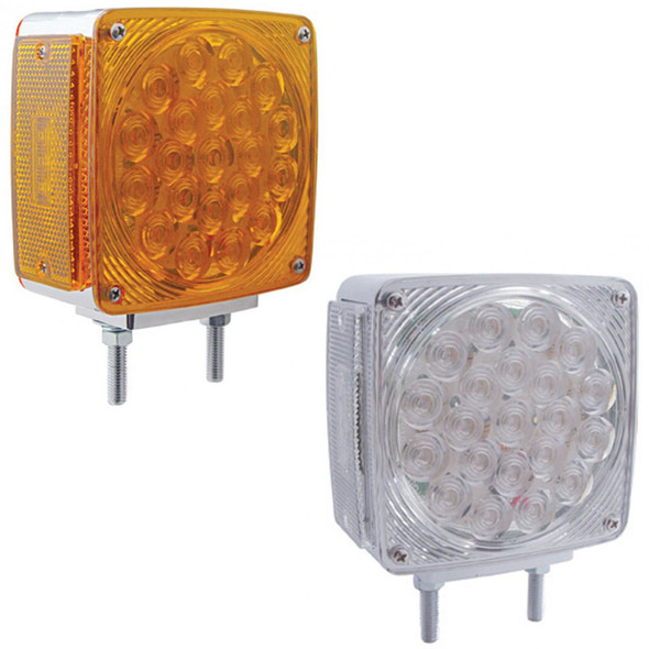 45 LED Square Double Face Turn Signal Light With Side LED - Amber And Clear