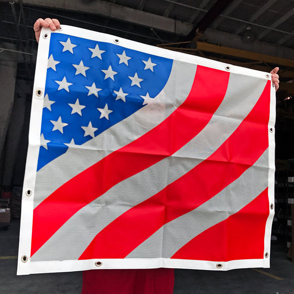 Peterbilt 377 378 379 American Flag Bug Screen - Hanging