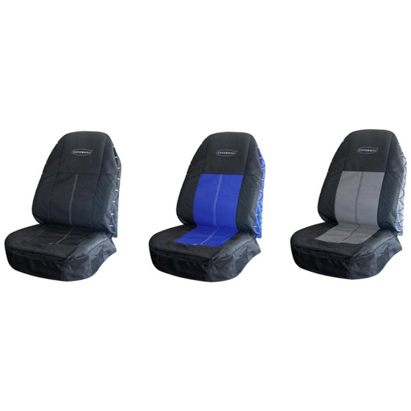 Coverall High Quality Polyester Canvas Seat Cover - Black, Blue & Gray