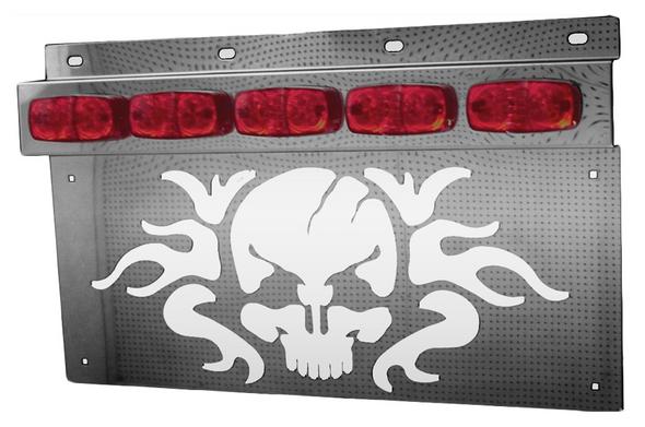 Stainless Skull Mud Flap Hanger Light Bracket With Tiger Eye LEDs (Pair)