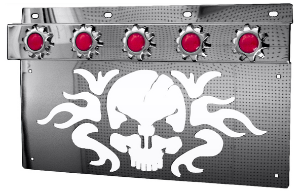 Stainless Skull Mud Flap Hanger Light Bracket With Sprocket Style Bezels (Pair)