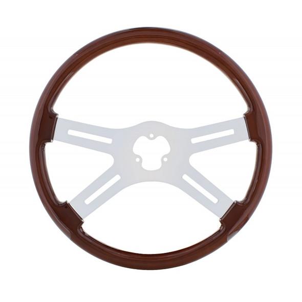 "18"" Mahogany 4 Chrome Spoke Steering Wheel"
